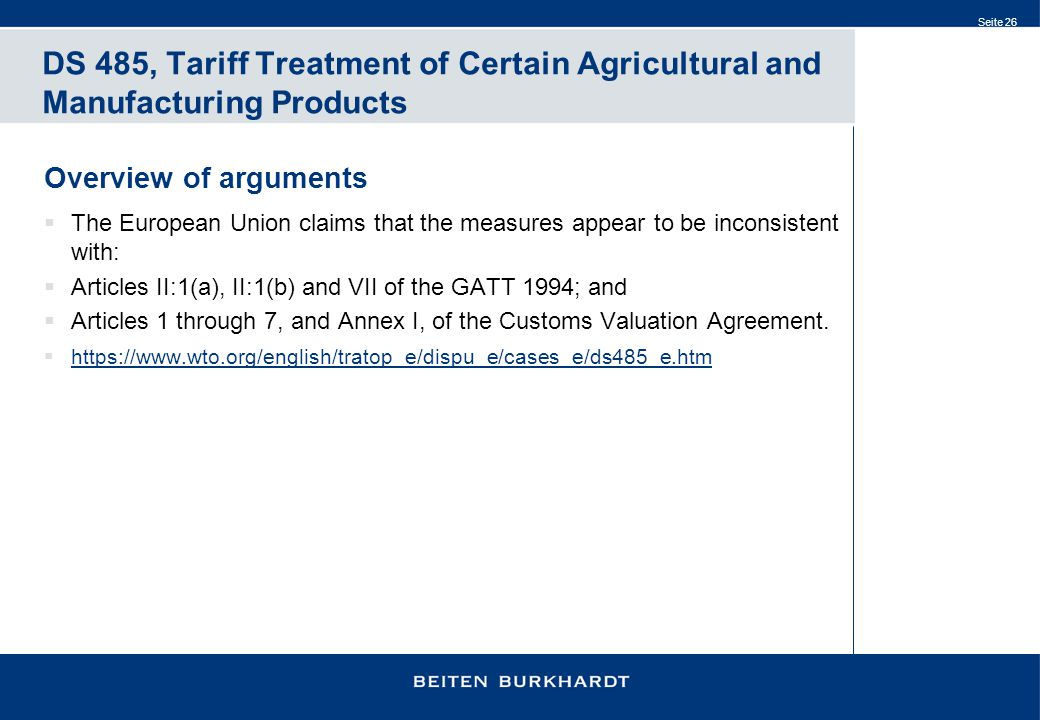 DS 485, Tariff Treatment of Certain Agricultural and Manufacturing Products
