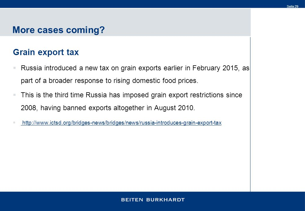 More cases coming Grain export tax