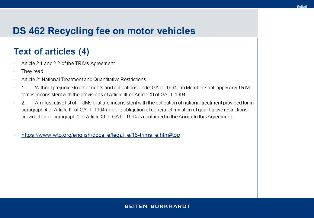 DS 462 Recycling fee on motor vehicles