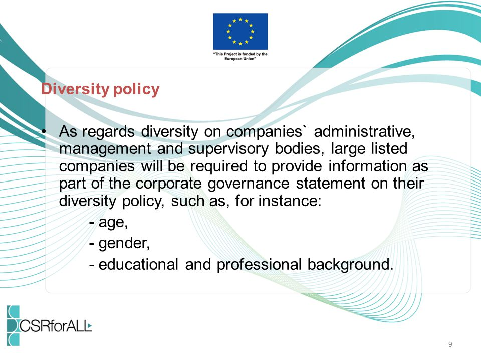 Diversity policy