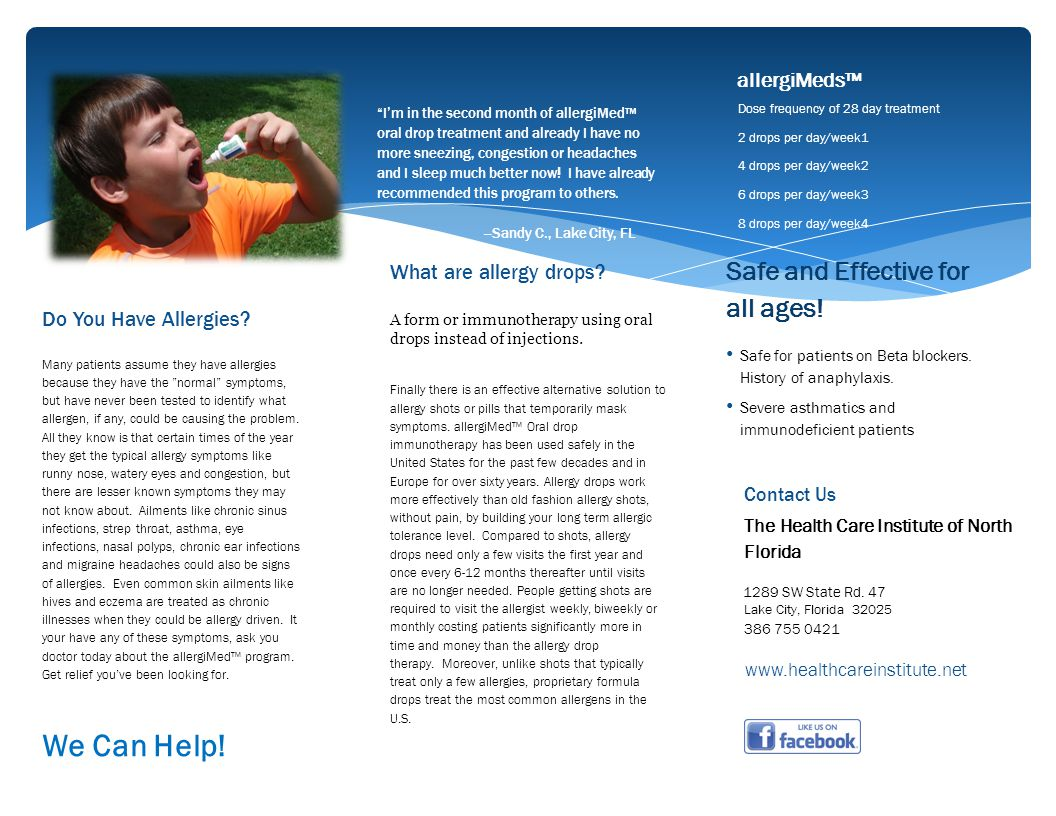 We Can Help! Safe and Effective for all ages! allergiMeds™