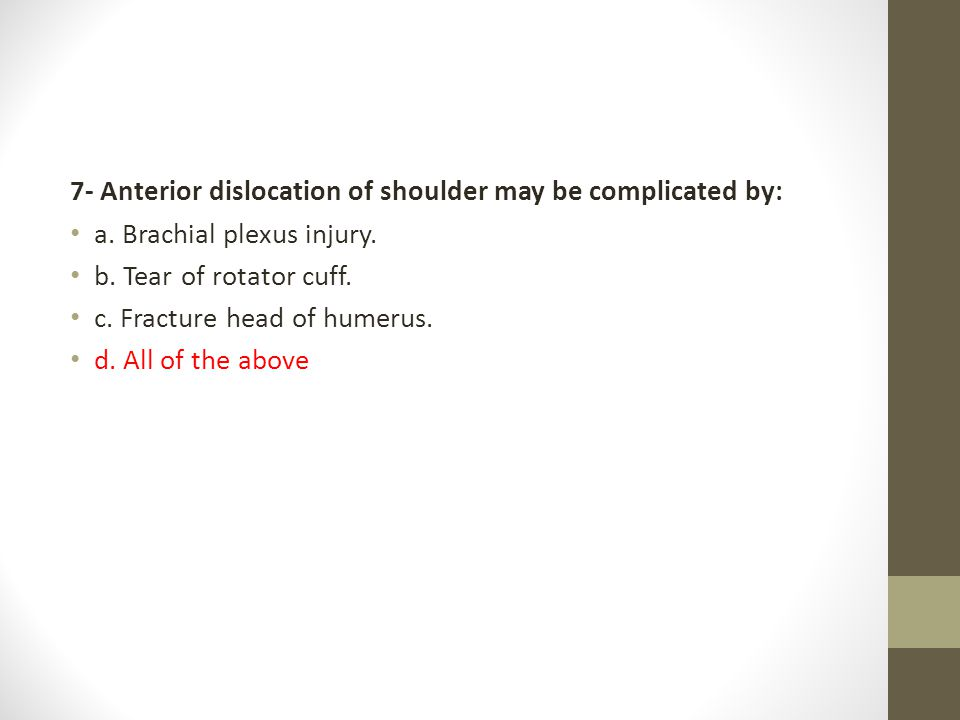7- Anterior dislocation of shoulder may be complicated by: