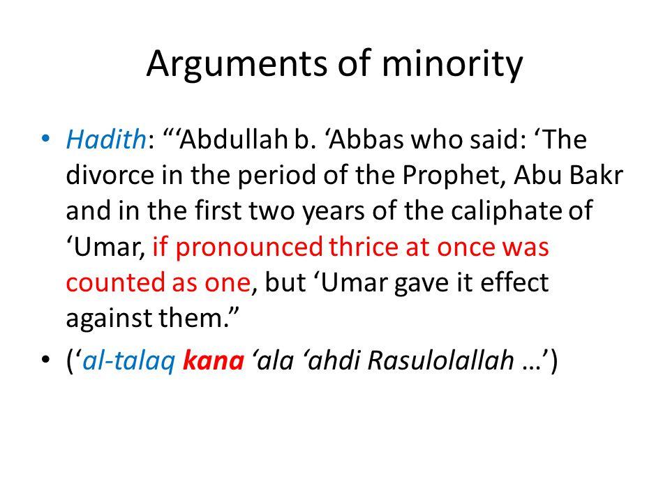 Arguments of minority
