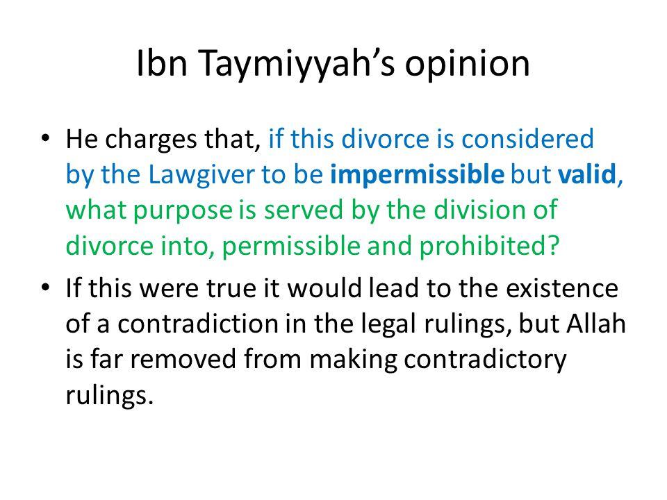 Ibn Taymiyyah's opinion