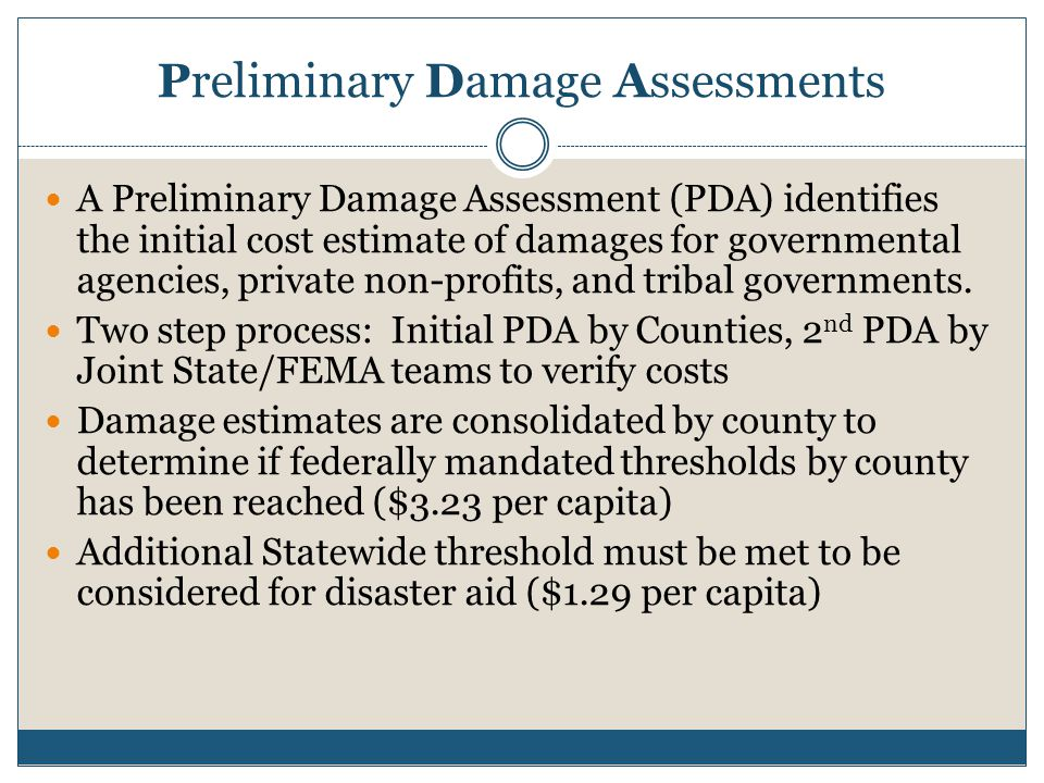 Preliminary Damage Assessments