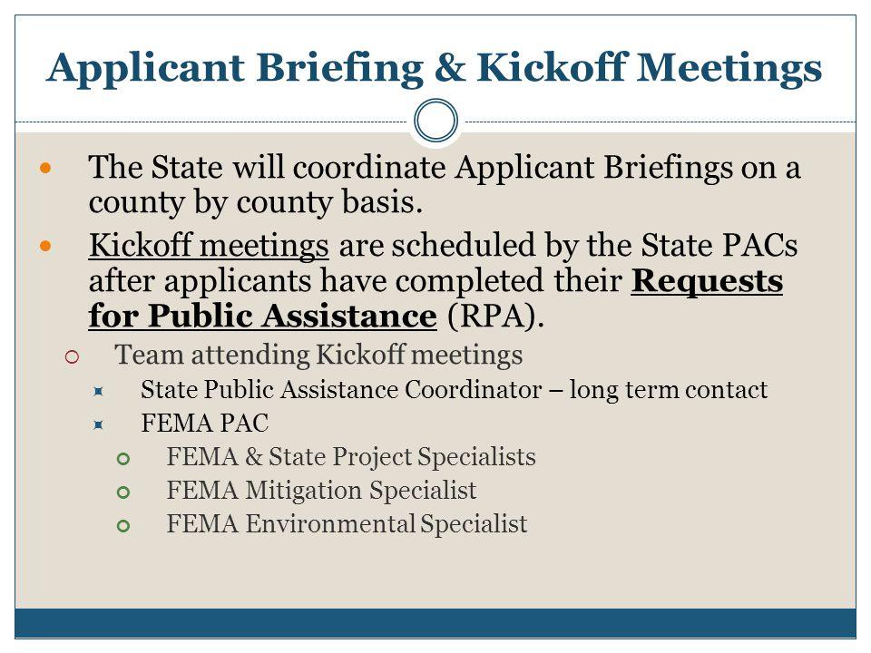Applicant Briefing & Kickoff Meetings