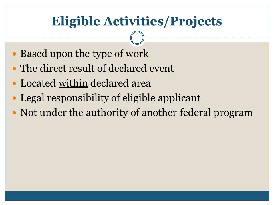 Eligible Activities/Projects