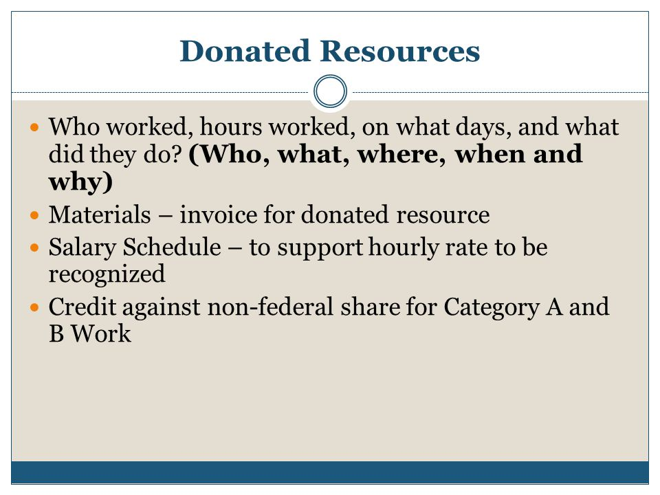 Donated Resources Who worked, hours worked, on what days, and what did they do (Who, what, where, when and why)