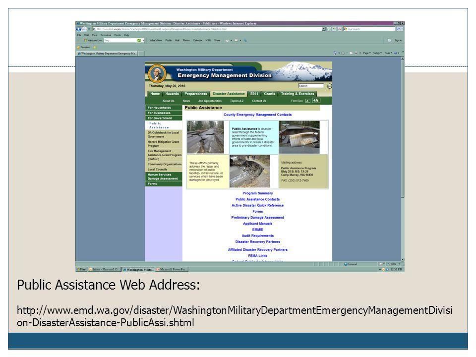 Public Assistance Web Address: