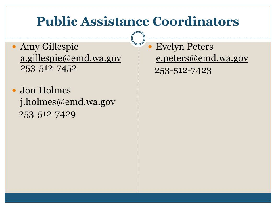 Public Assistance Coordinators