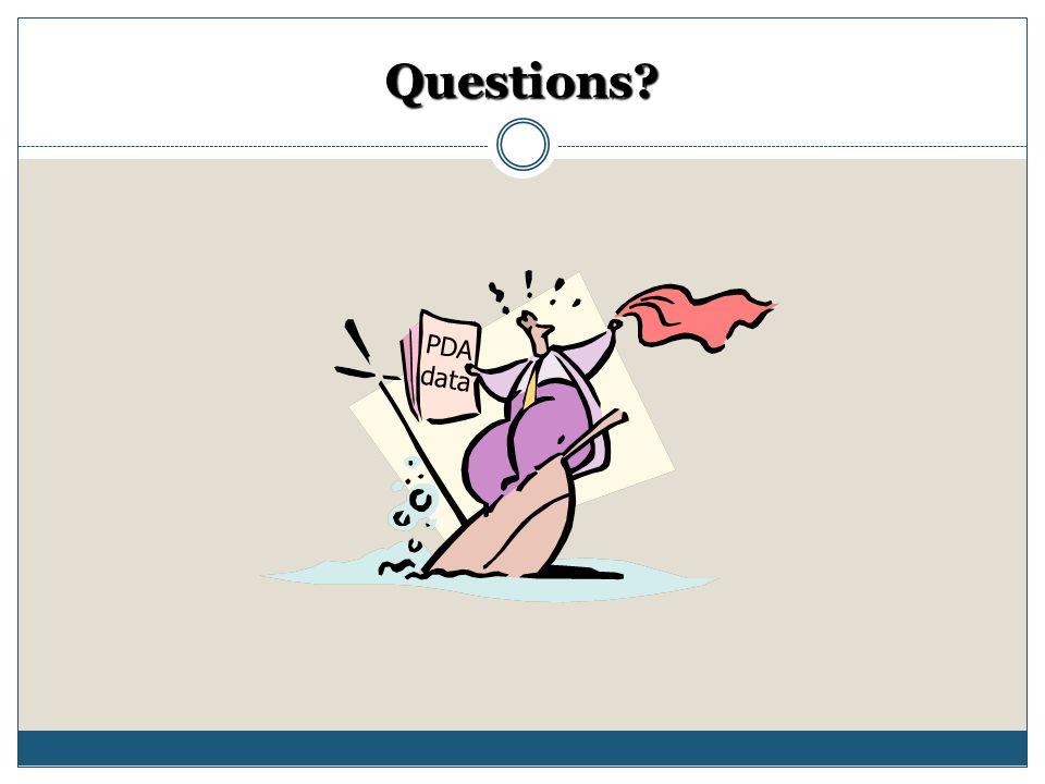 Questions PDA data