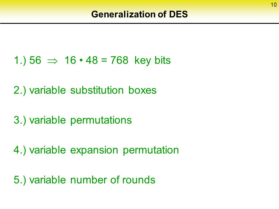 2.) variable substitution boxes 3.) variable permutations