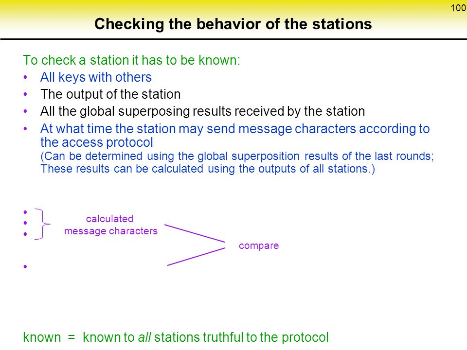 Checking the behavior of the stations