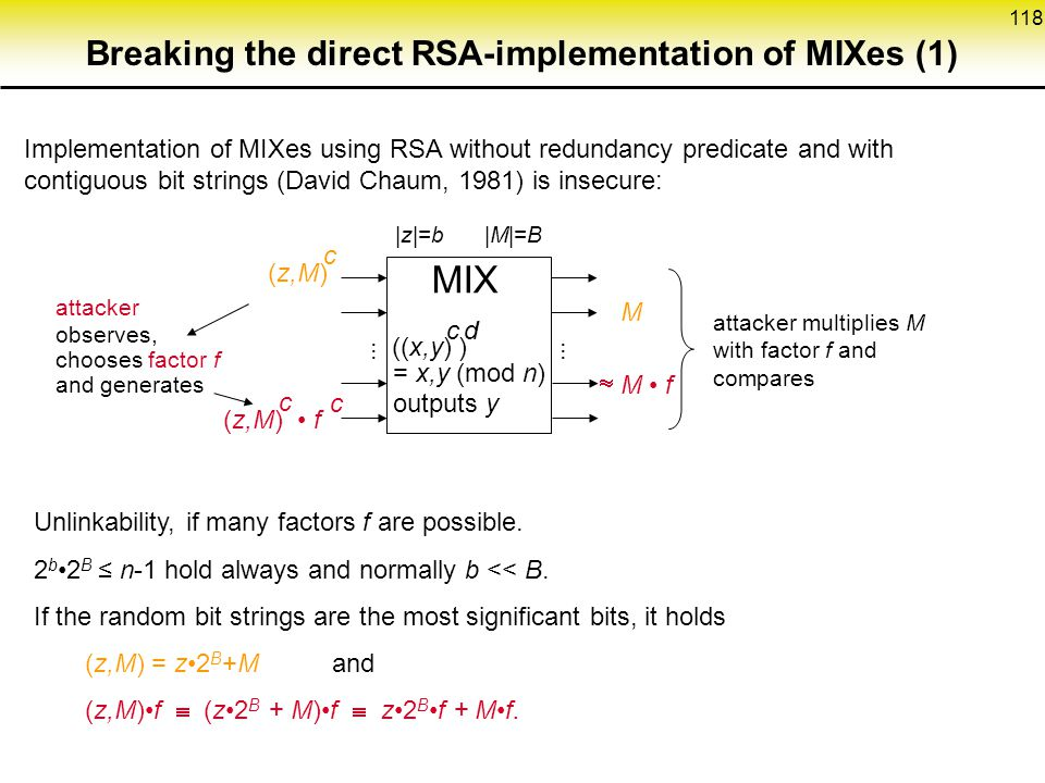 Breaking the direct RSA-implementation of MIXes (1)