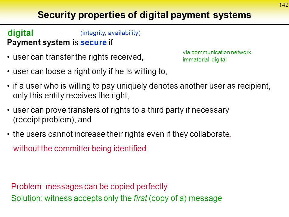 Security properties of digital payment systems