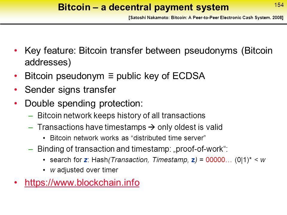 Bitcoin – a decentral payment system