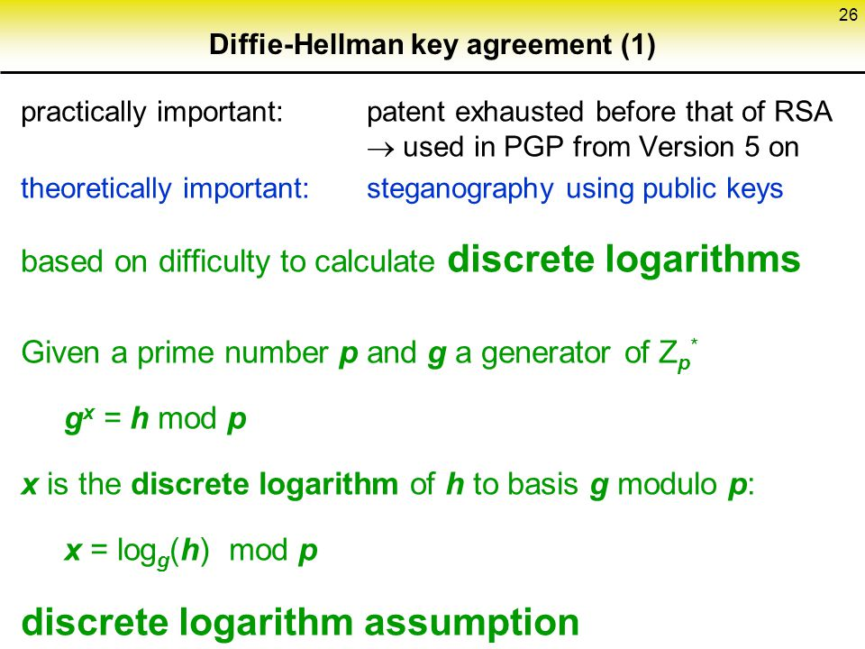 Diffie-Hellman key agreement (1)