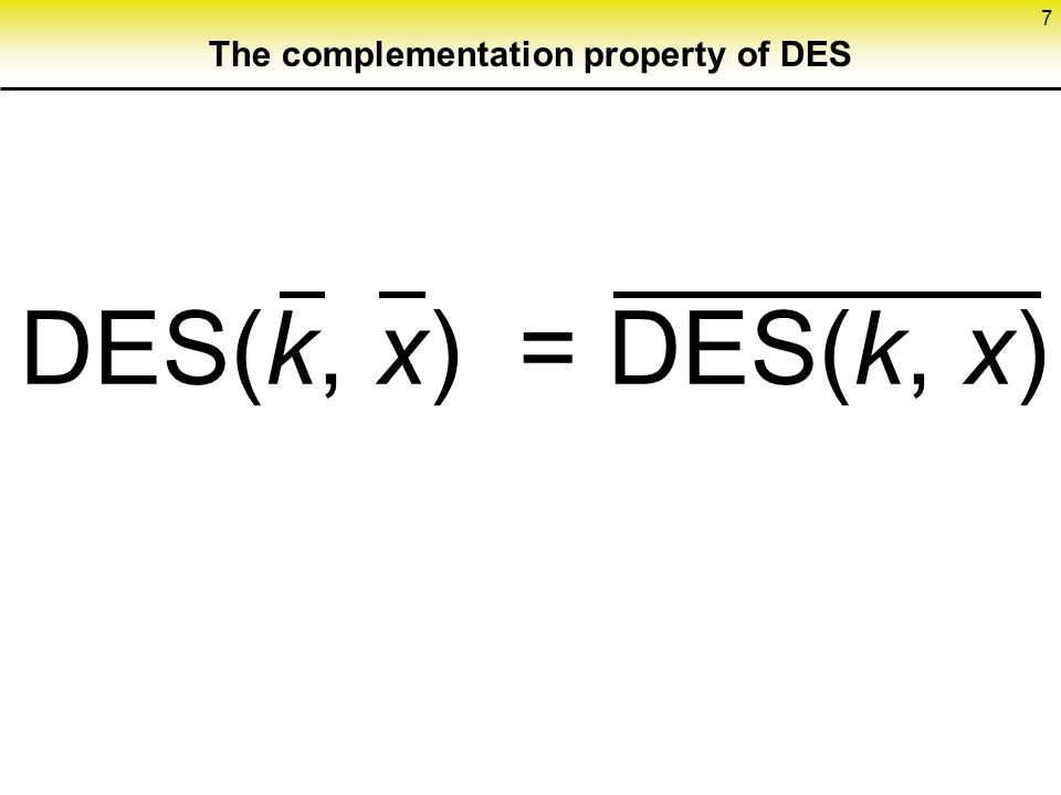 The complementation property of DES