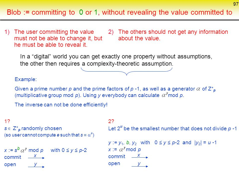 Blob := committing to 0 or 1, without revealing the value committed to