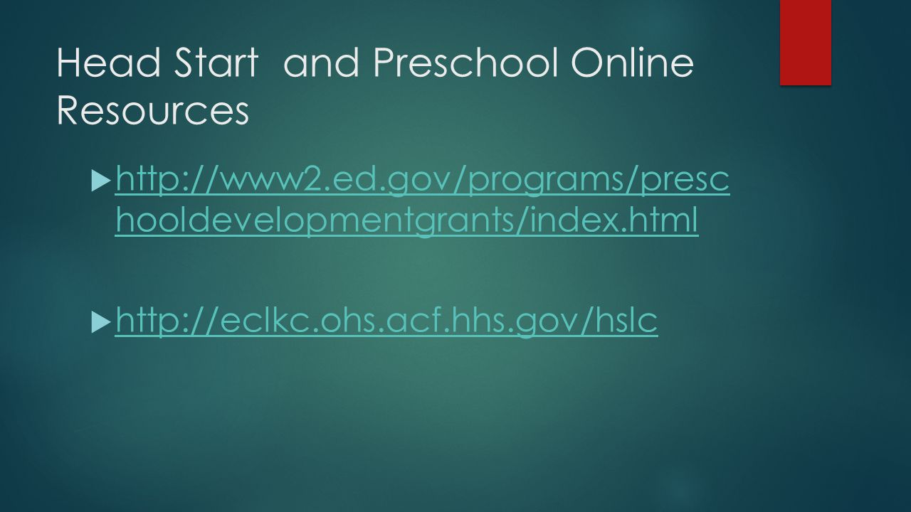 Head Start and Preschool Online Resources