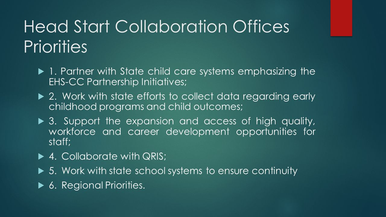 Head Start Collaboration Offices Priorities