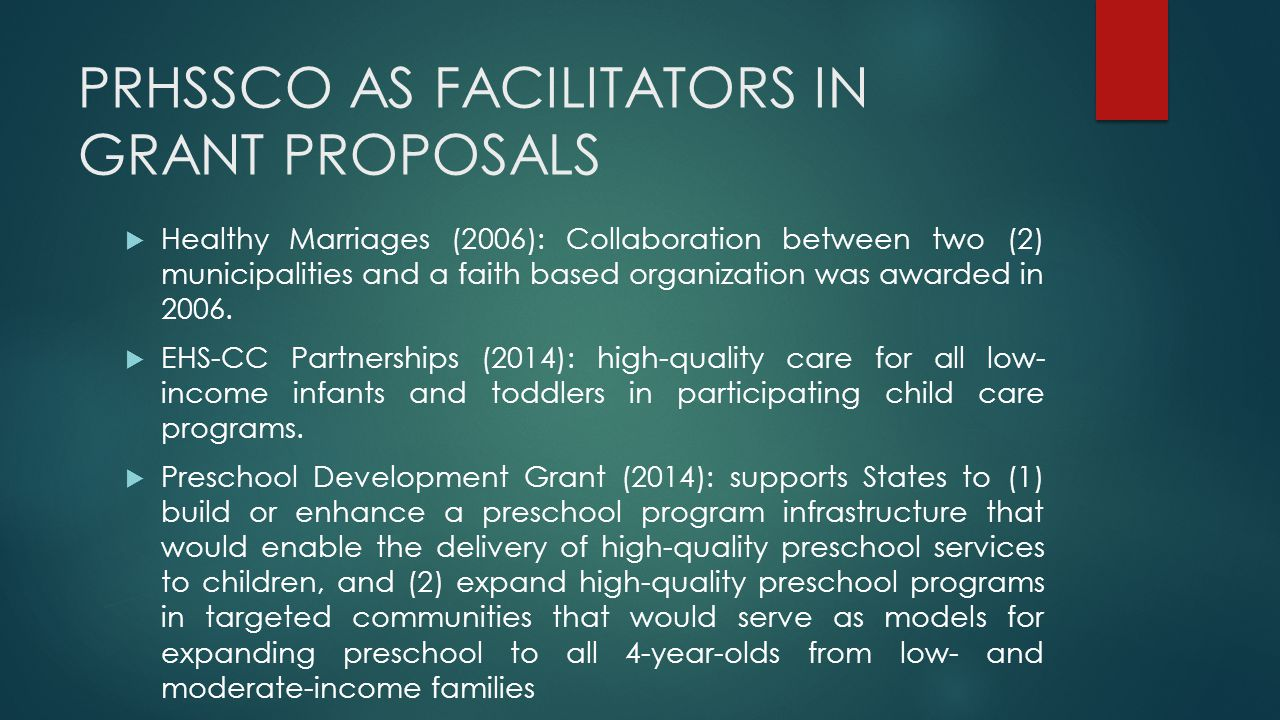 PRHSSCO AS FACILITATORS IN GRANT PROPOSALS