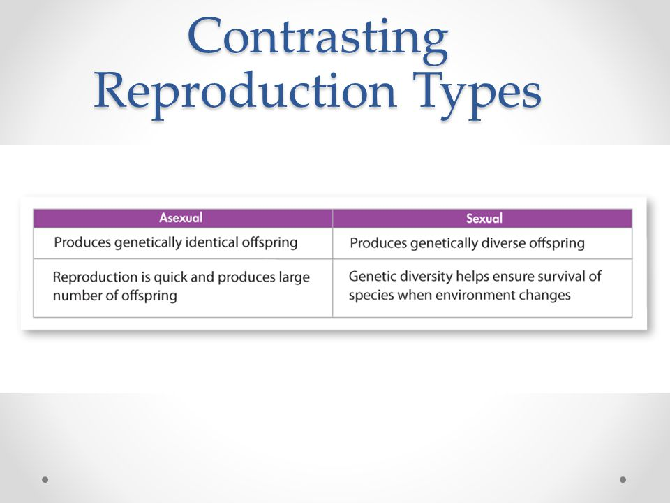 Contrasting Reproduction Types