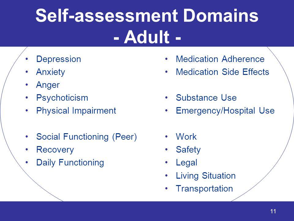Self-assessment Domains - Adult -