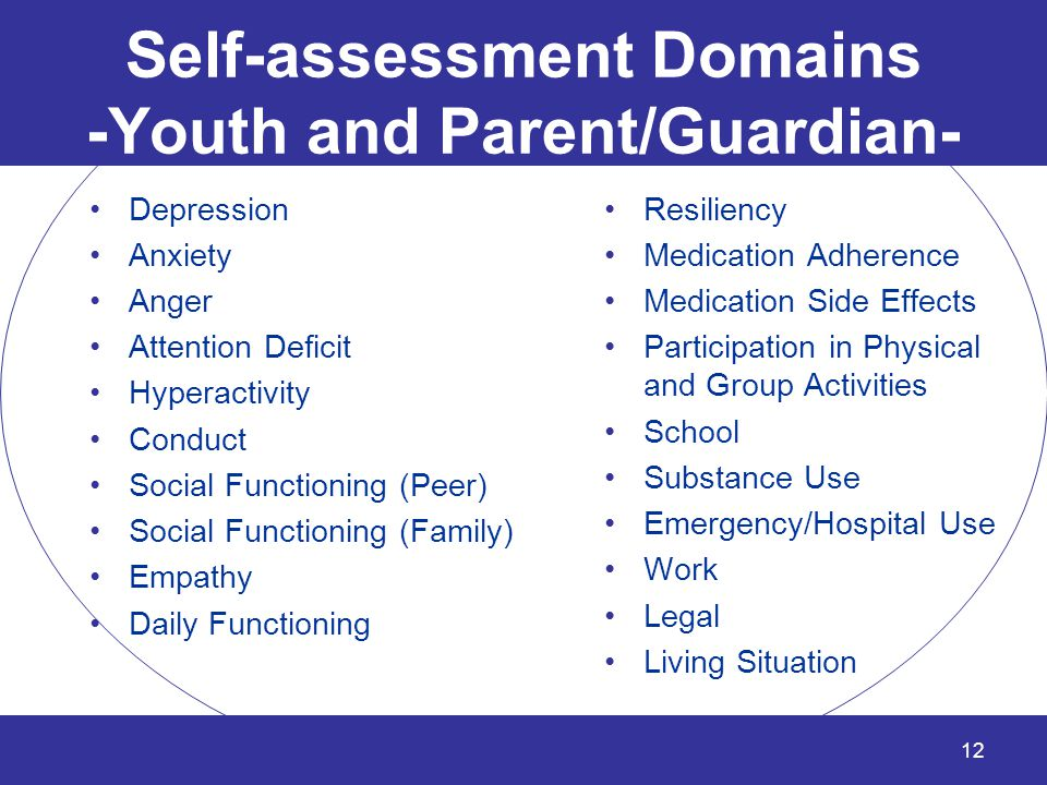 Self-assessment Domains -Youth and Parent/Guardian-