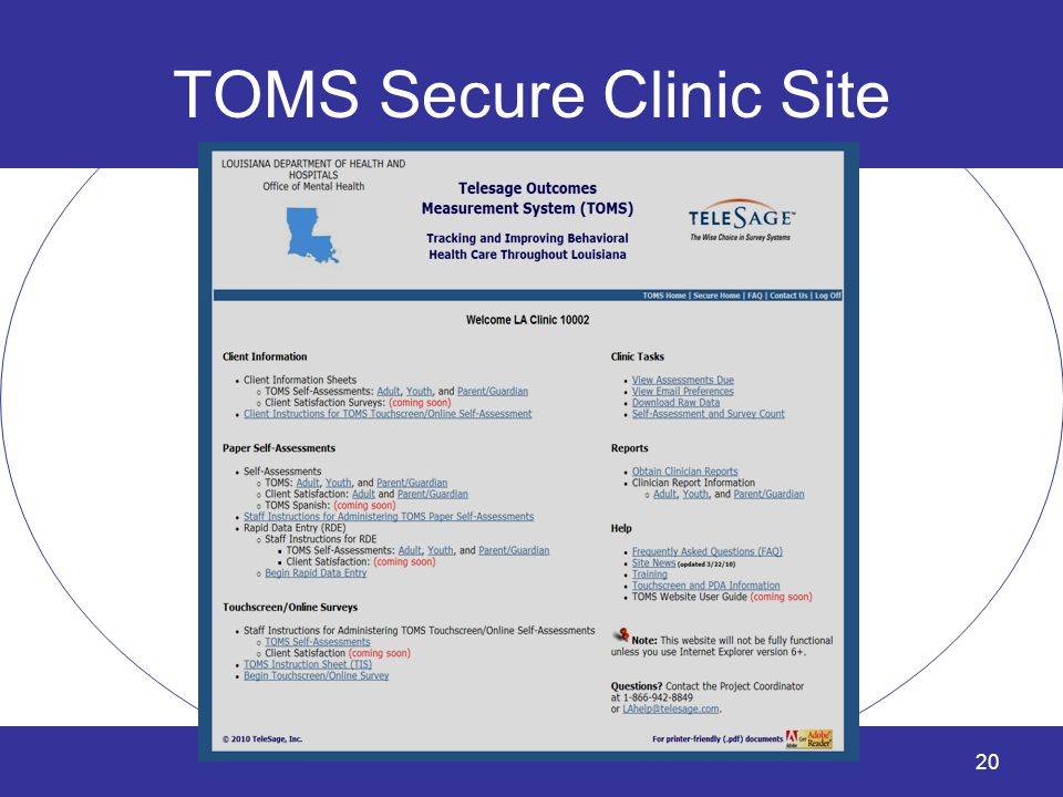 TOMS Secure Clinic Site