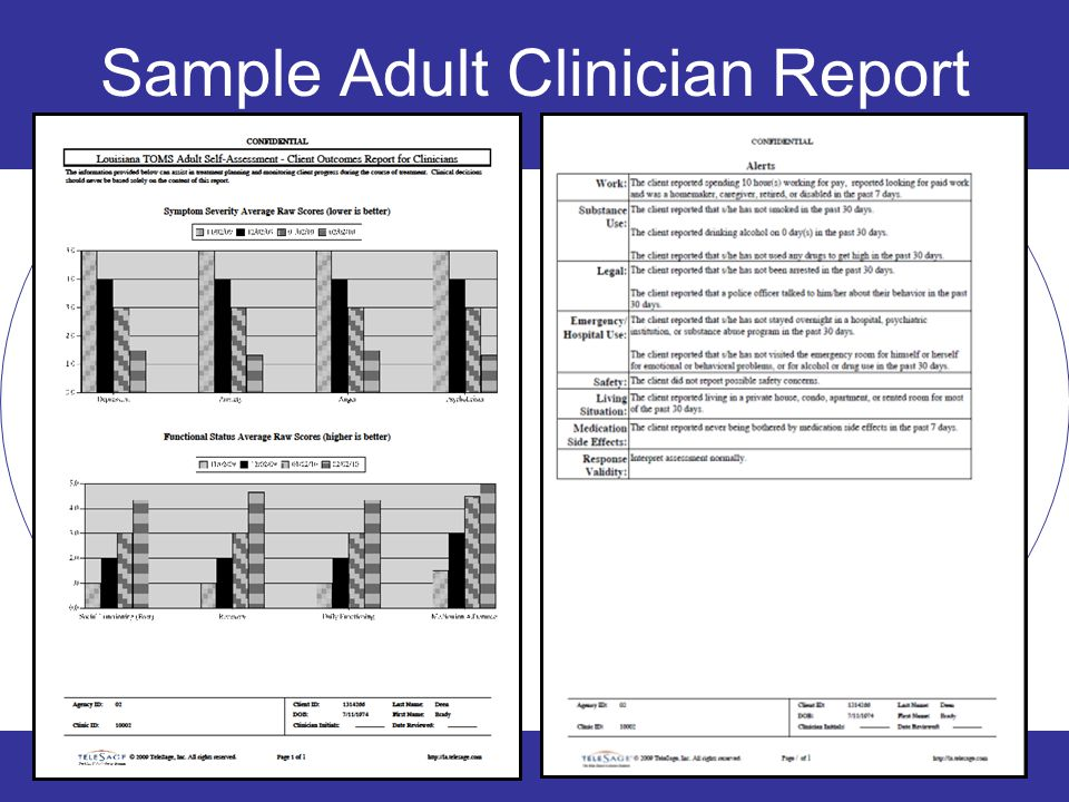 Sample Adult Clinician Report