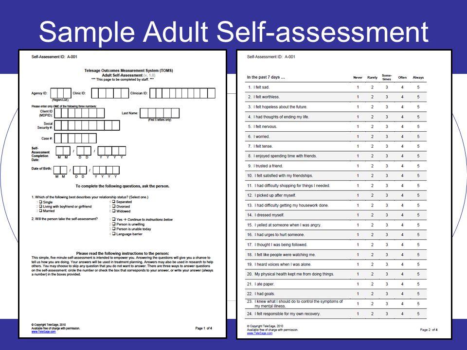 Sample Adult Self-assessment