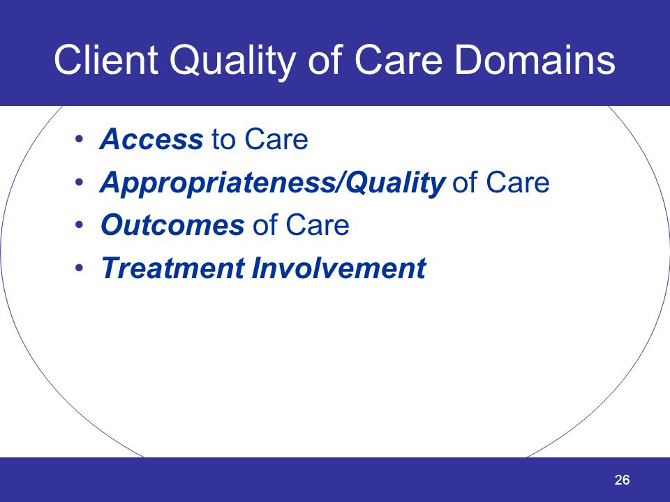 Client Quality of Care Domains
