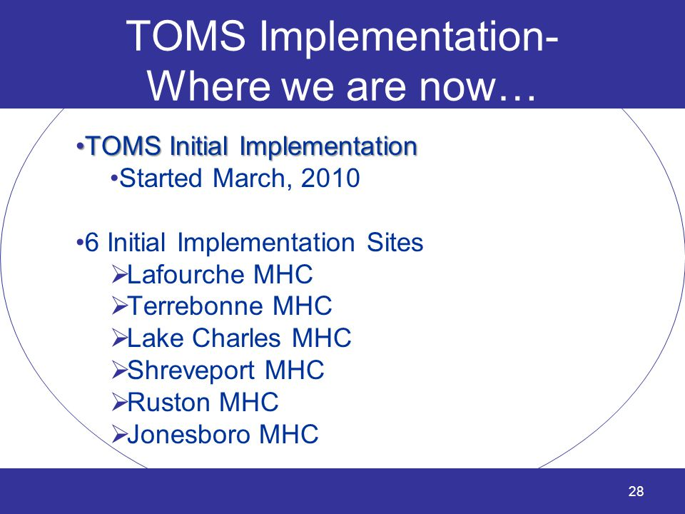 TOMS Implementation- Where we are now…