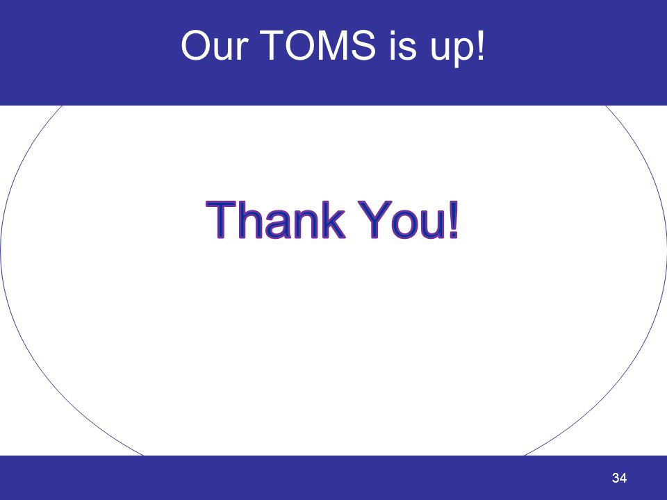 Our TOMS is up! Thank You!