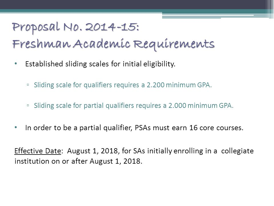 Proposal No. 2014-15: Freshman Academic Requirements