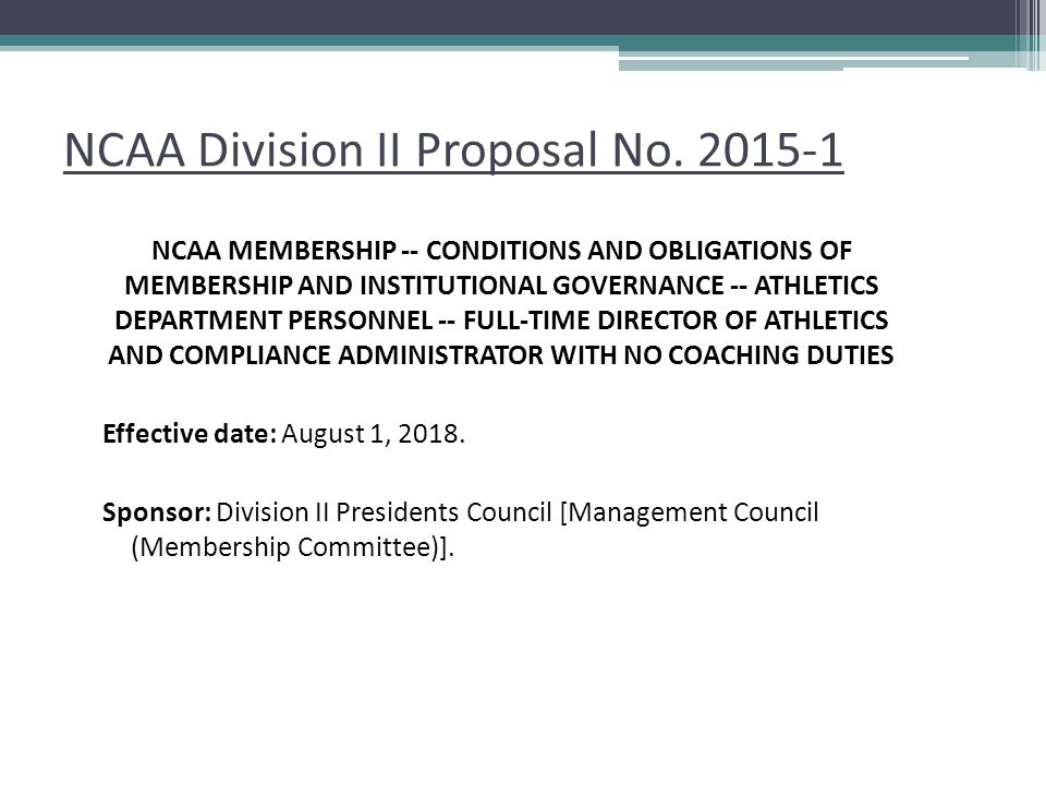 NCAA Division II Proposal No. 2015-1