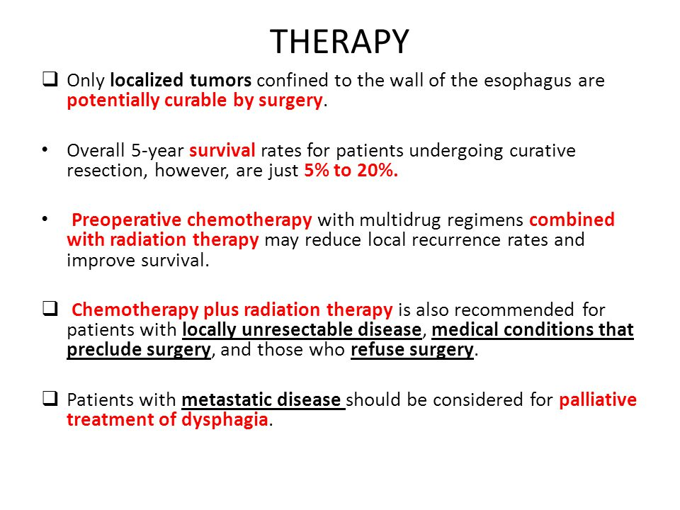 THERAPY Only localized tumors confined to the wall of the esophagus are potentially curable by surgery.
