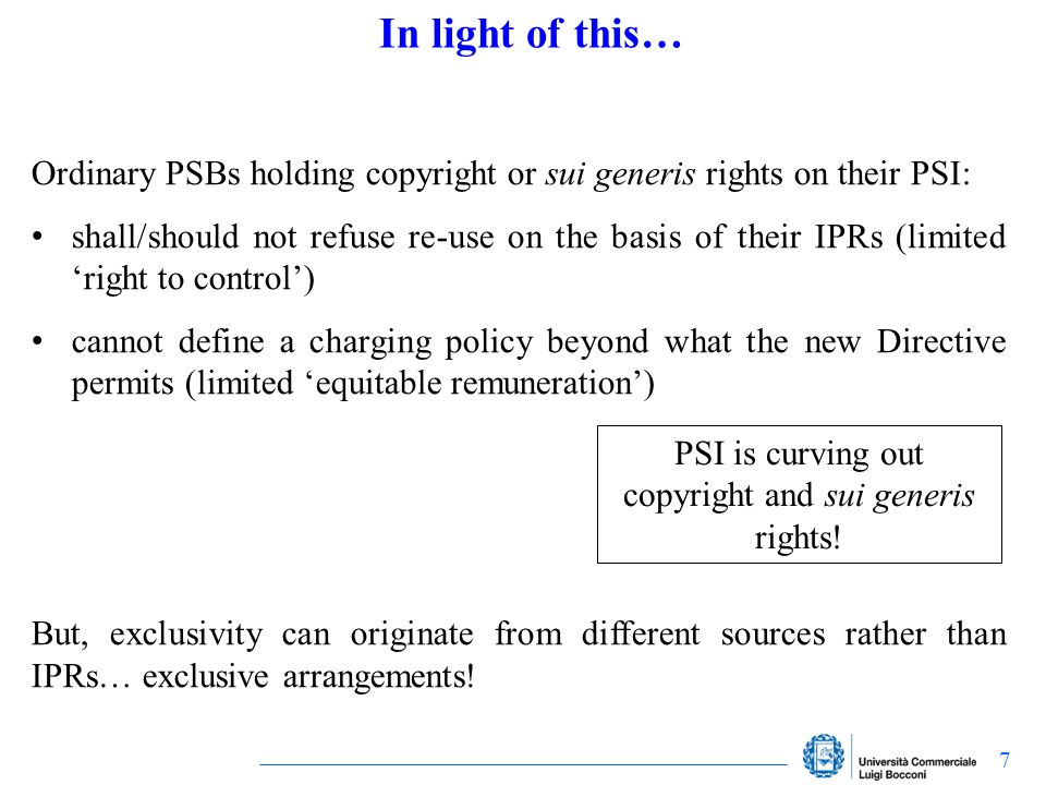 PSI is curving out copyright and sui generis rights!