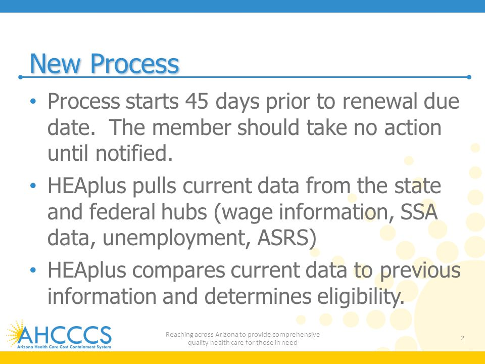 New Process Process starts 45 days prior to renewal due date. The member should take no action until notified.