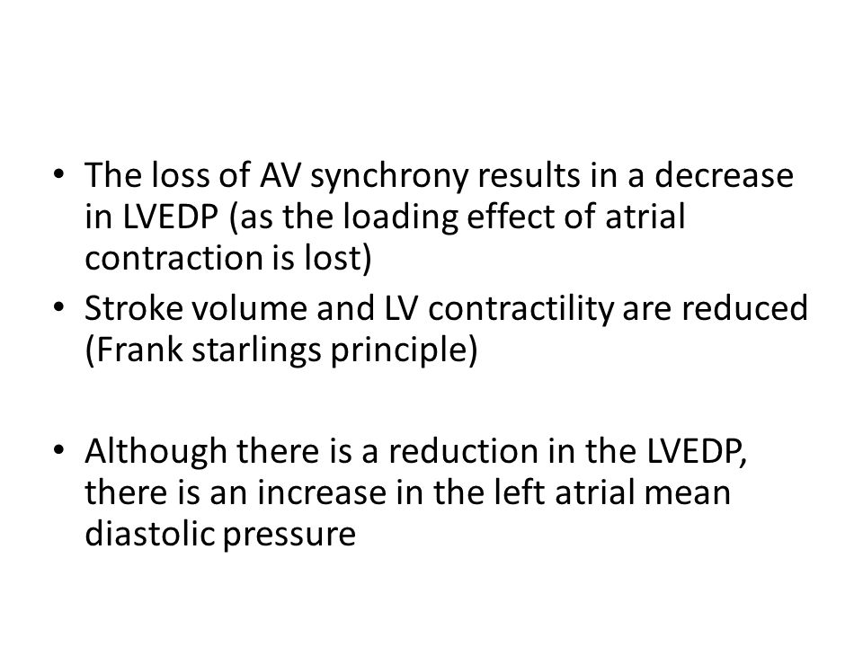 The loss of AV synchrony results in a decrease in LVEDP (as the loading effect of atrial contraction is lost)