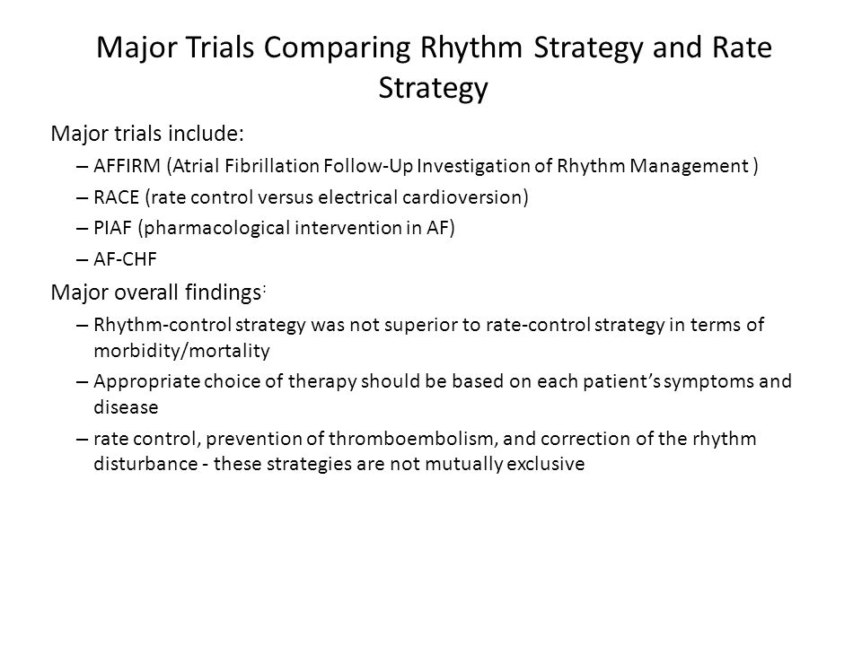 Major Trials Comparing Rhythm Strategy and Rate Strategy