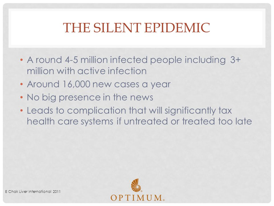 The Silent Epidemic A round 4-5 million infected people including 3+ million with active infection.