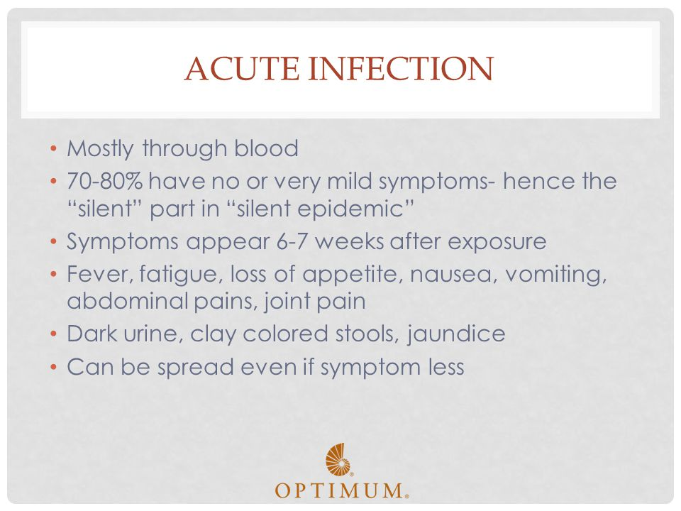 Acute Infection Mostly through blood