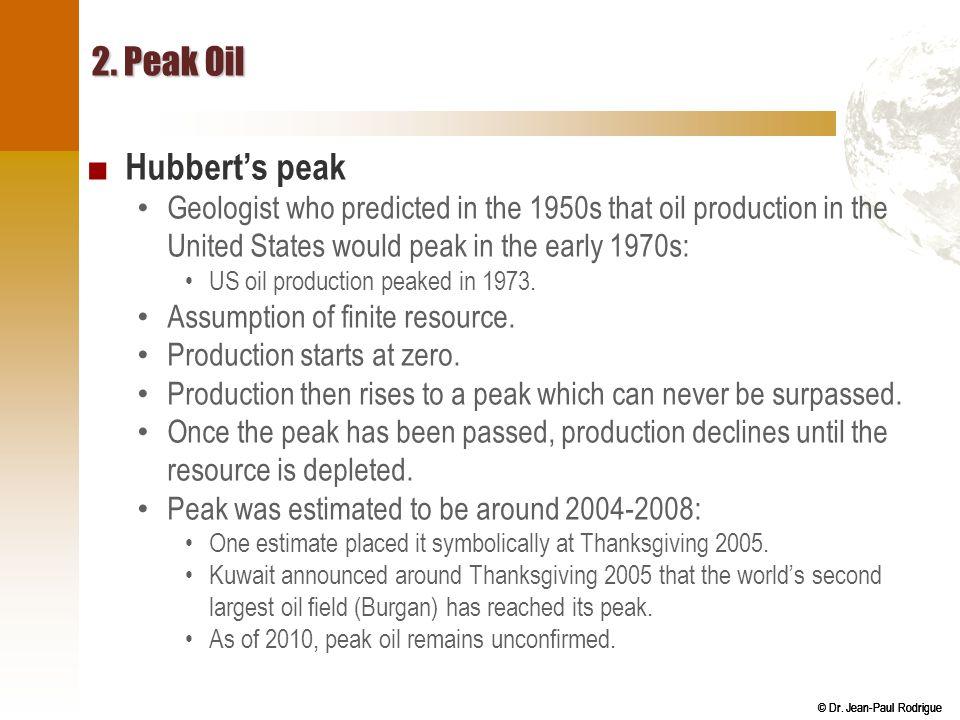2. Peak Oil Hubbert's peak
