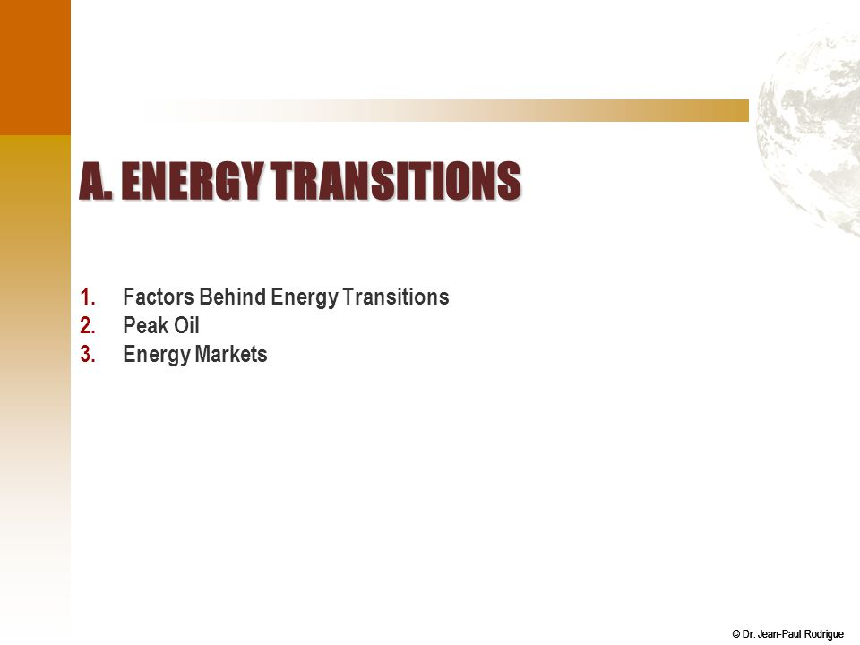 A. Energy Transitions Factors Behind Energy Transitions Peak Oil