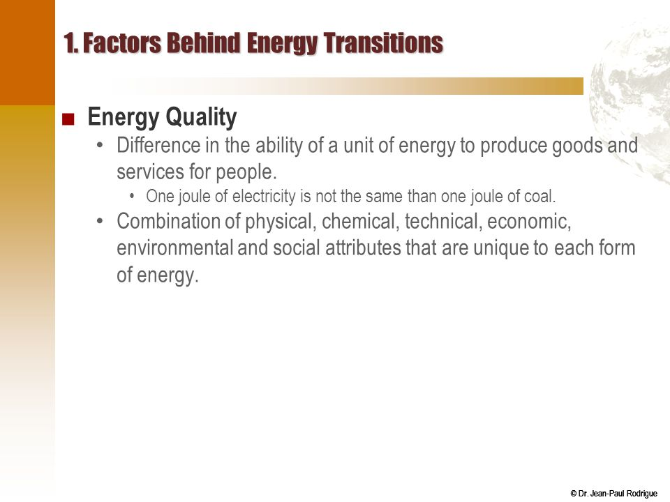 1. Factors Behind Energy Transitions