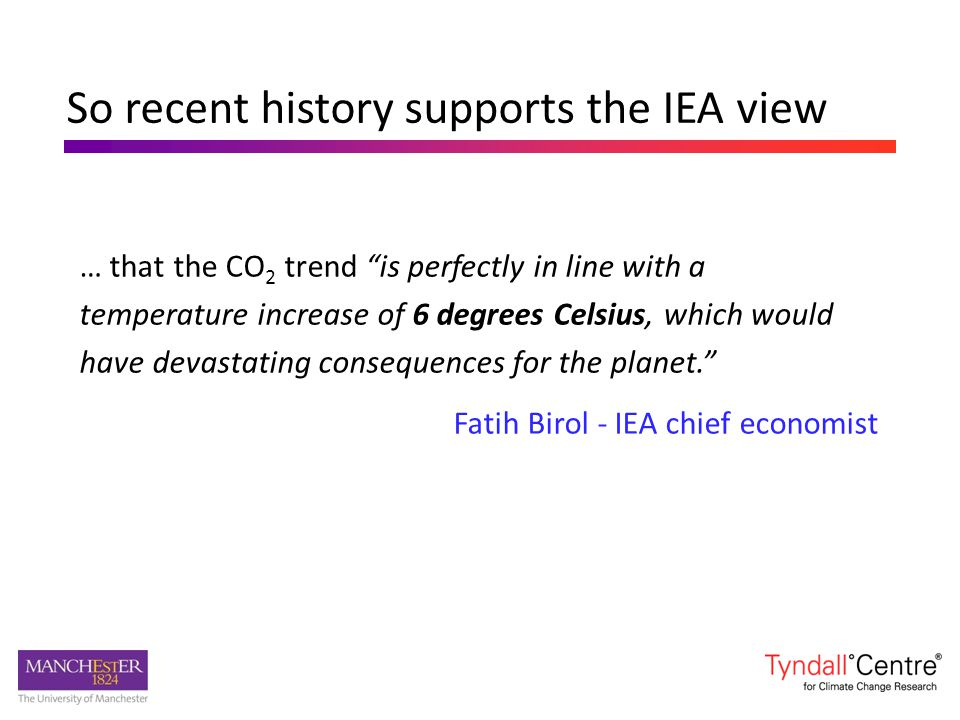 So recent history supports the IEA view