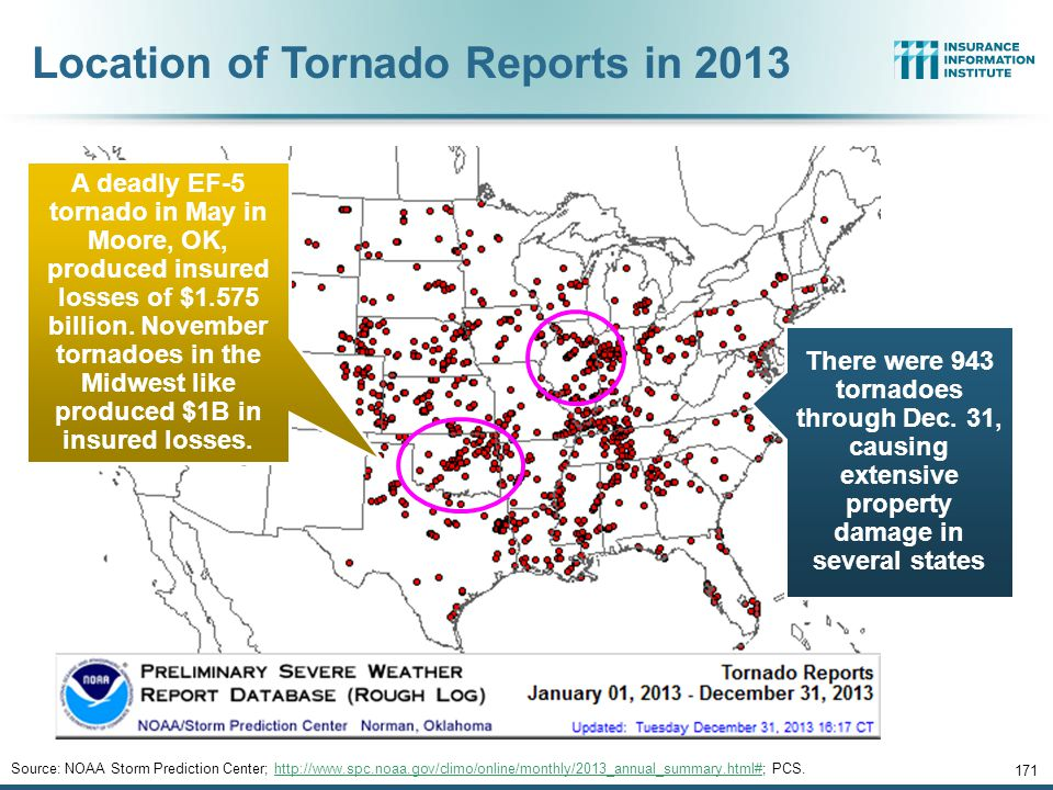 Location of Tornado Reports in 2013