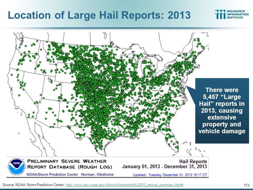 Location of Large Hail Reports: 2013